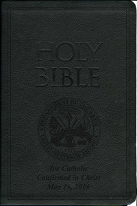Laser Embossed Catholic Bible with Army Cover - Black NABRE