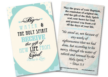 Baptism By Water and the Holy Spirit Holy Card