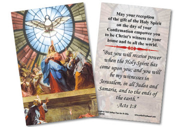 Our Lady of Pentecost Confirmation Holy Card
