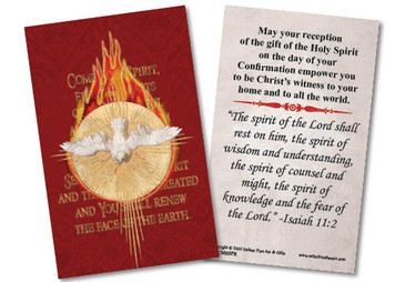 Holy Spirit Fire Confirmation Red Holy Card