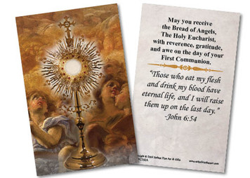 Monstrance & Angels First Communion Holy Card