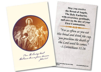 Christ, Bread of Angels First Communion Holy Card III