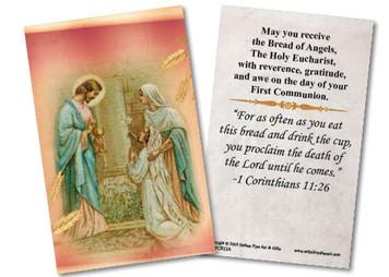 Jesus and Mary First Communion Holy Card