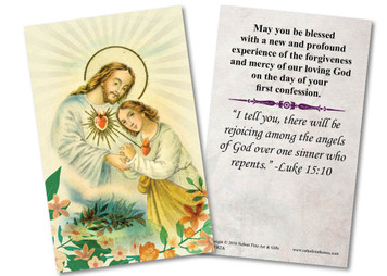 Sacred Heart First Reconciliation Holy Card