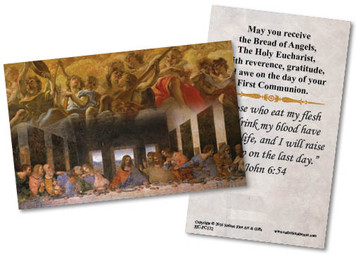 Last Supper by Da Vinci First Communion  Holy Card