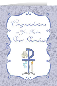 Great Grandson's Baptism Greeting Card
