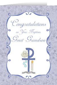 Great Grandson's Baptism Greeting Card