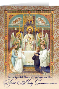 Great Grandson's First Communion Greeting Card