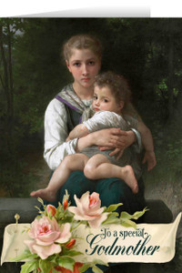 Woman Holding Child Godmother Greeting Card