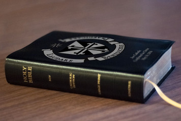 Personalized Catholic Bible with Dominican Shield Cover - Black Bonded Leather RSVCE