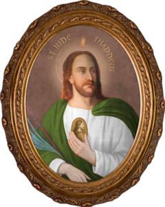 Saint Jude Thaddeus Canvas - Oval Framed Art