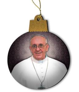 Pope Francis Portrait Wood Ornament