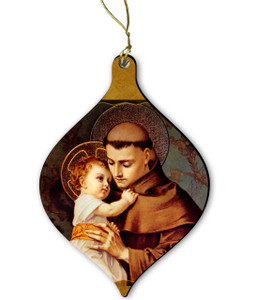 St. Anthony with Jesus Wood Ornament