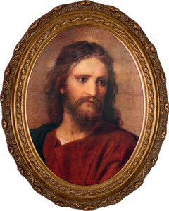 Christ at 33 by Hoffman Canvas - Oval Framed Art