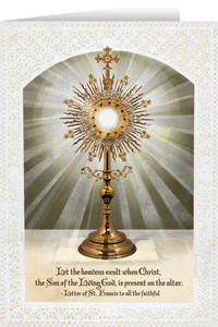 Monstrance with Letter of St. Francis Greeting Card