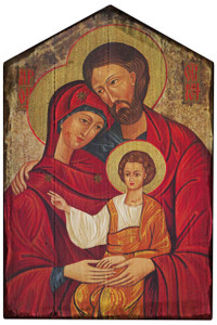 Holy Family Icon Rustic Wood Plaque