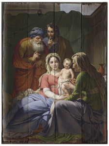 Holy Family with Grandparents Joachim and Anne Rustic Wood Plaque