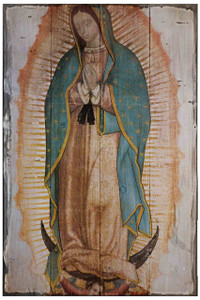Our Lady of Guadalupe (Basilica) Rustic Wood Plaque