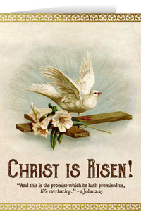 Christ is Risen Dove Easter Season Greeting Card