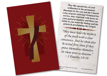 Deacon's Cross Diaconate Ordination Holy Card