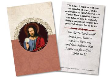 Christ Holding Eucharist Jubilee Holy Card