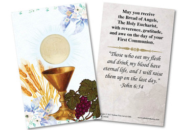 Blue Spring Chalice First Communion Holy Card