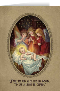 Vintage Angels in Adoration Christmas Cards