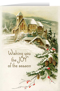 Vintage Church in Snow with Pine and Berries Christmas Cards
