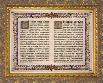 Latin-English Nicene Creed Gold Framed Art