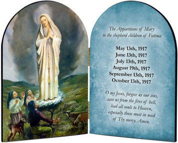 100 Year Anniversary Our Lady of Fatima with Children Arched Diptych