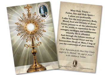 Monstrance Fatima St. Michael Reparation Prayer Holy Card