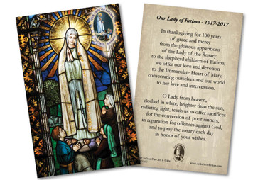 Our Lady of Fatima Stained Glass Commemorative Holy Card