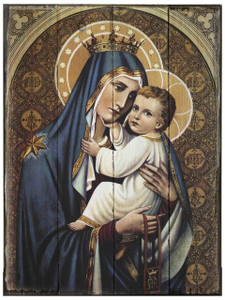 Our Lady of Mt. Carmel Rustic Wood Plaque