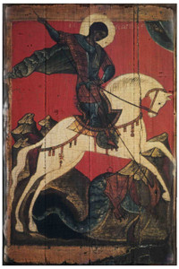 St. George Slaying the Dragon Rustic Wood Russian Icon Plaque