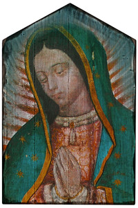 Our Lady of Guadalupe Detail Rustic Wood Plaque