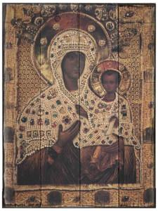Virgin of Smolensk Rustic Wood Icon Plaque