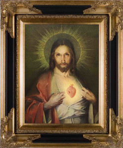 Polish Sacred Heart Canvas - Black and Gold Framed Art