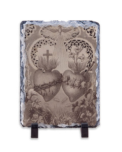 Sacred and Immaculate Hearts French Lithograph Vertical Slate Tile