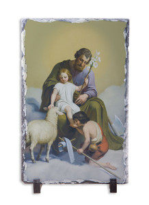 St. Joseph Guardian of Sons Vertical Slate Tile