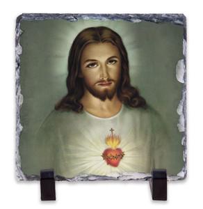 Traditional Sacred Heart of Jesus Square Slate Tile