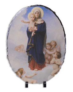 Our Lady of the Angels Oval Slate Tile