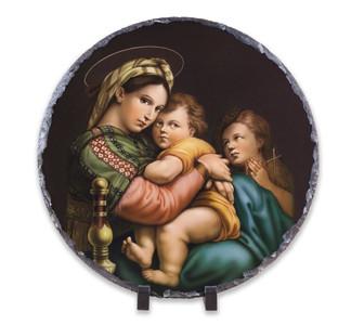 Madonna della Seggiola (Madonna of the Chair) Round Slate Tile