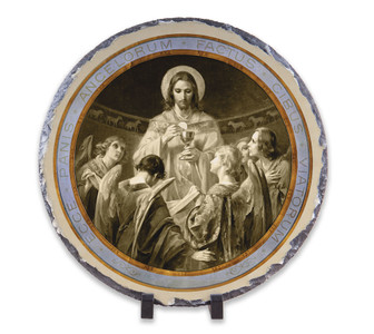 Christ, Bread of Angels Round Slate Tile