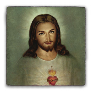 Traditional Sacred Heart of Jesus Square Tumbled Stone Tile
