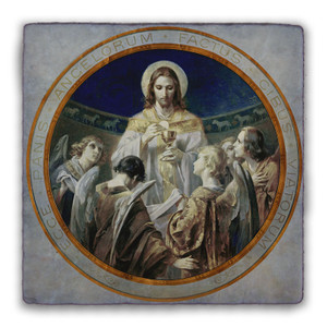 Christ, Bread of Angels Square Tumbled Stone Tile