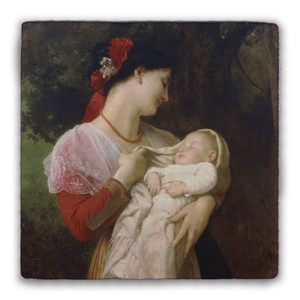 Maternal Admiration Square Tumbled Stone Tile