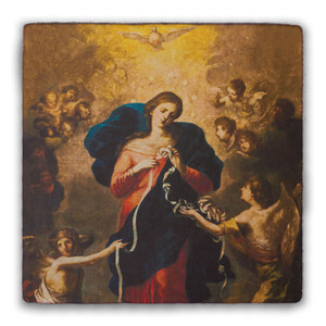 Mary Undoer of Knots Square Tumbled Stone Tile