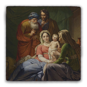 Holy Family with Grandparents Joachim and Anne Square Tumbled Stone Tile