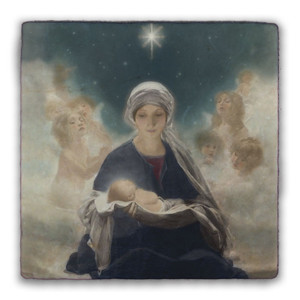 Star of Bethlehem by Bruno Piglhein Square Tumbled Stone Tile