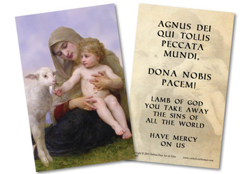 Virgin and the Lamb Holy Card